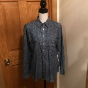 Loft Medium Long Sleeve Button-Front Blouse - EUC